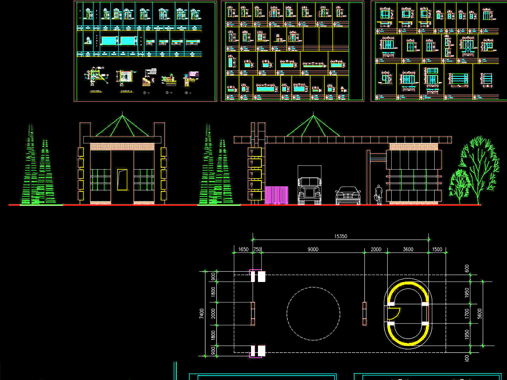 大门建筑设计学校大门工厂大门cad平面图下载(图片35.