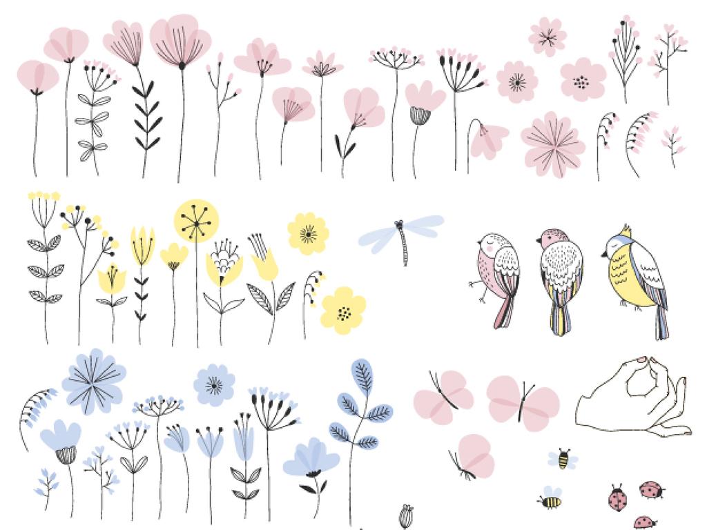 唯美小清新手绘花鸟图手绘工笔花鸟壁画手绘花鸟手绘花鸟背景墙中式