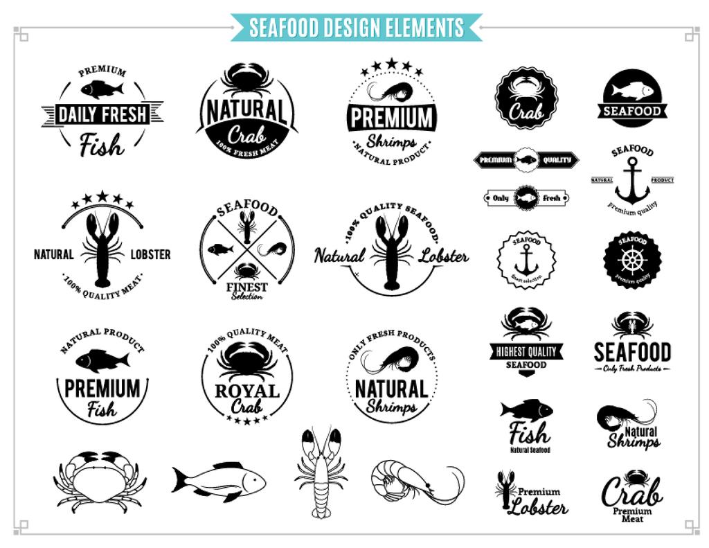 2017海鲜餐厅龙虾logo螃蟹虾水产矢量标签素材