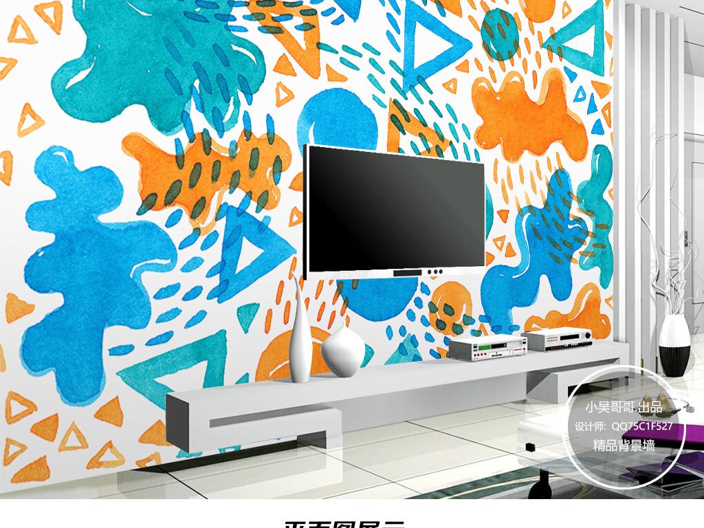 背景墙 电视背景墙 手绘电视背景墙 > 北欧简约涂鸦几何图案可爱装饰