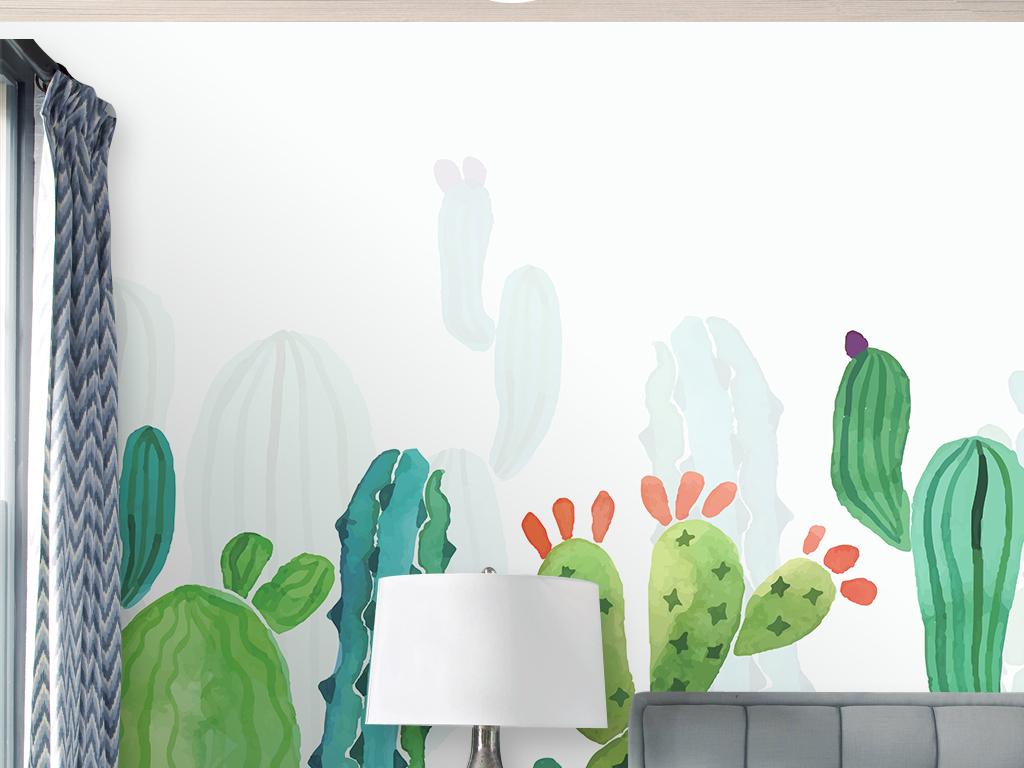 北欧简约手绘仙人掌装饰画背景墙壁画壁纸