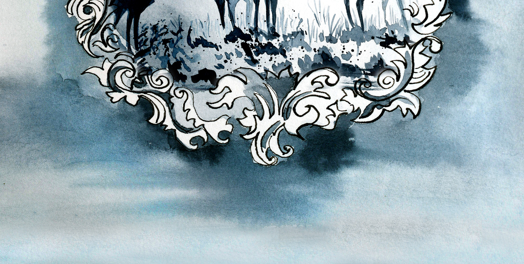 手绘麋鹿群欧式框画