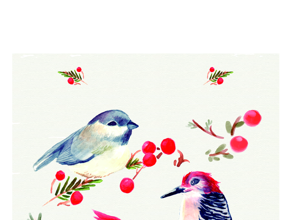 手绘工笔画小鸟素材背景