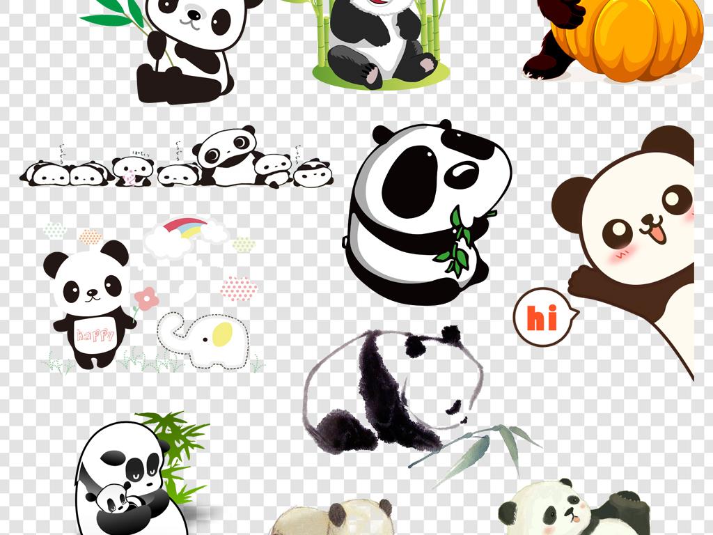 卡通可爱熊猫png海报素材