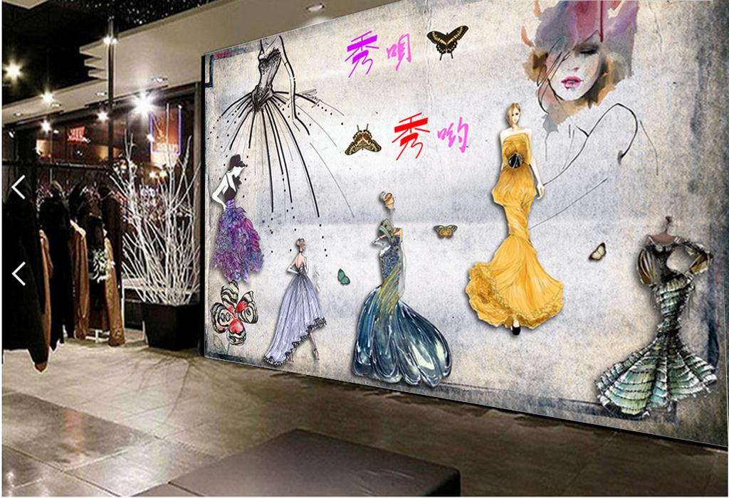 商场背景工装背景模特背景商场模特手绘人物手绘墙手绘背景墙手绘花鸟