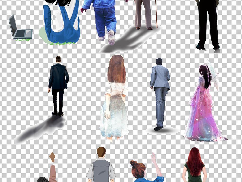 真实人物卡通人物免扣人物背影透明png