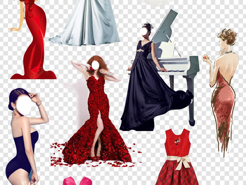 人物婚纱手绘蓝色晚礼服礼服美女模特礼服晚礼服模特素材时尚模特模特