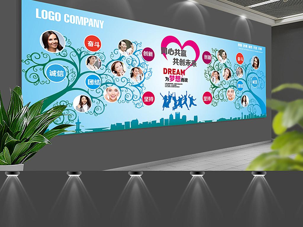 员工形象墙论+�_企业文化形象墙公司员工照片墙通用背景展板