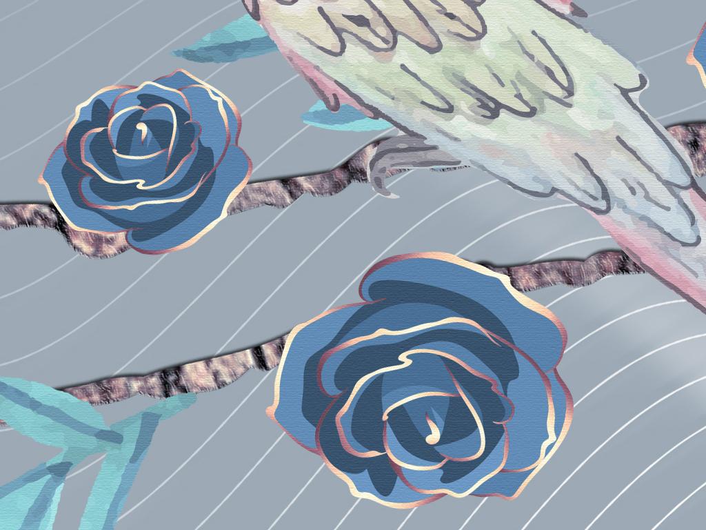 现代简约手绘花鸟工笔画北欧式淡雅复古蓝玫瑰