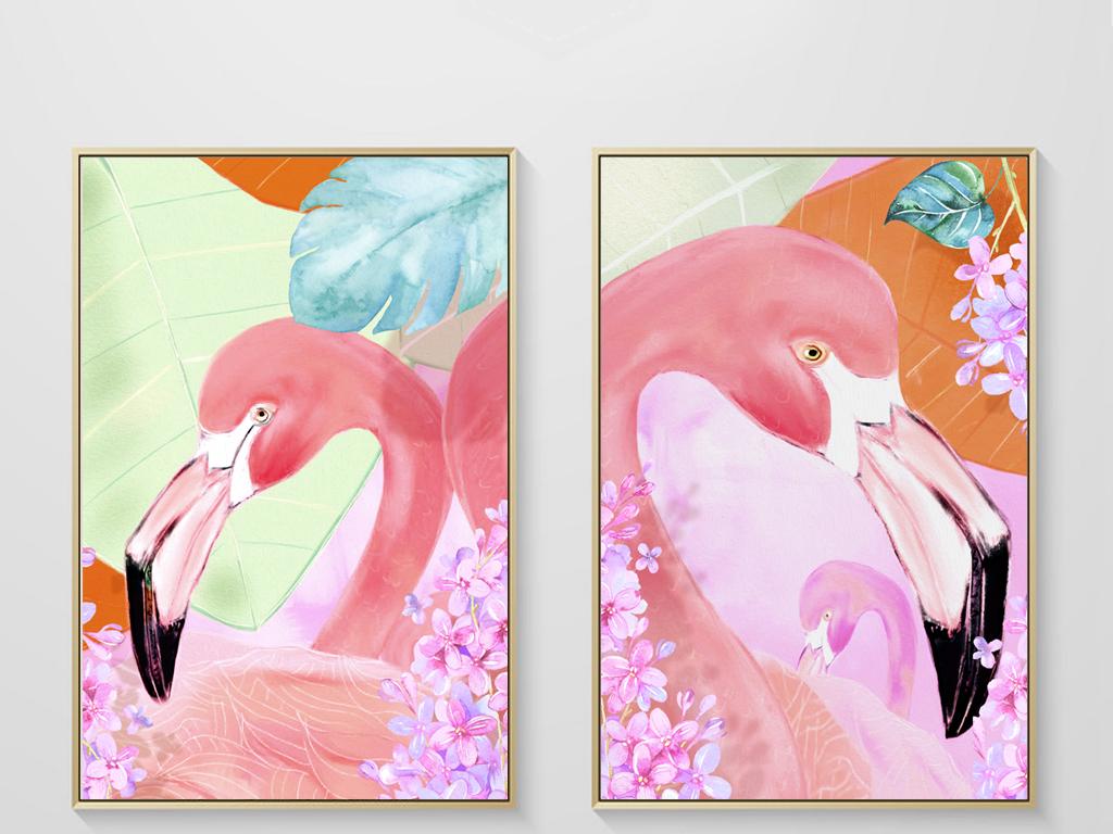 小清新北欧装饰画手绘粉色火烈鸟无框画挂画 位图, rgb格式高清大图