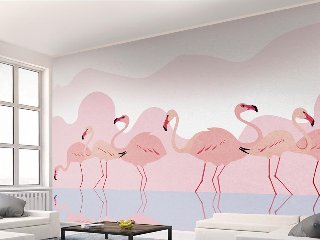 现代简约手绘浪漫粉色火烈鸟背景墙壁画