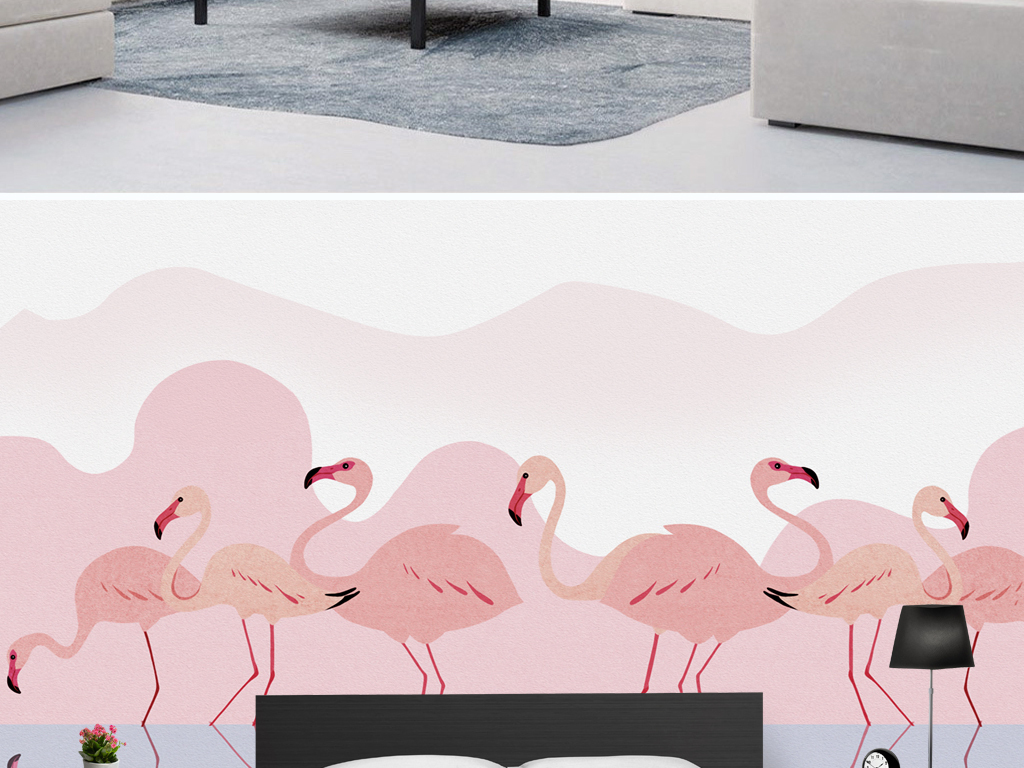 现代简约手绘浪漫粉色火烈鸟背景墙壁画图片设计素材图片