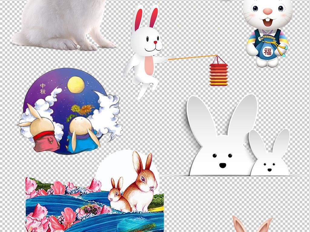 中秋节玉兔卡通兔子可爱兔子图片