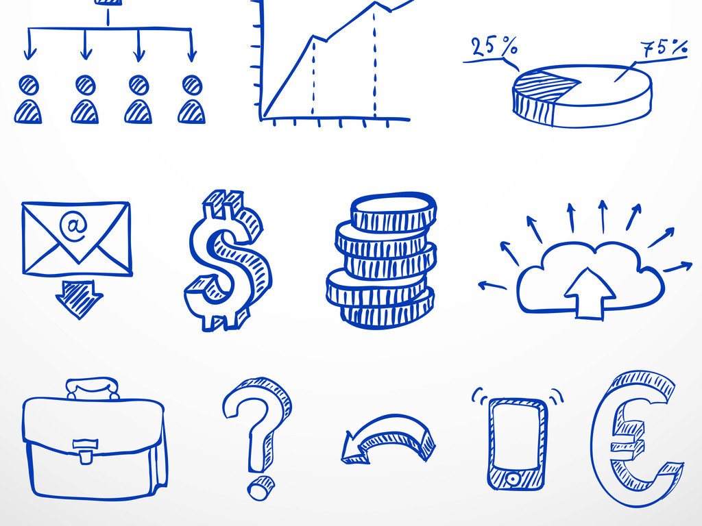 手绘素描金融元素矢量图形
