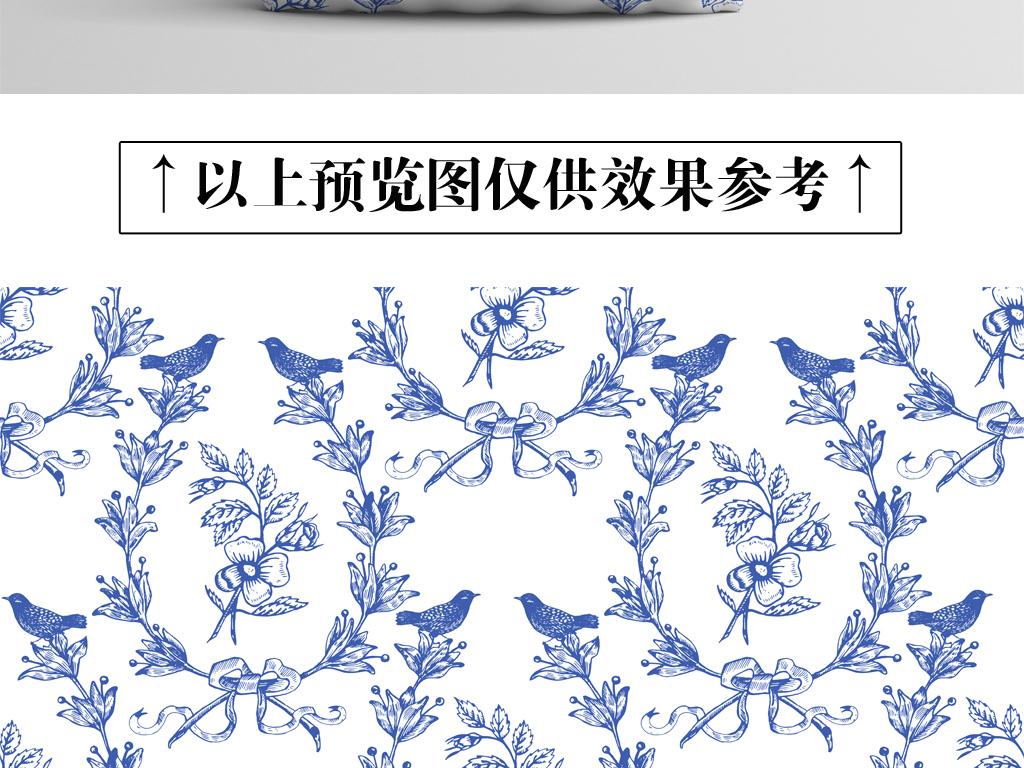 设计作品简介: 中国风手绘蓝色古典花鸟图案背景 矢量图, rgb格式高清