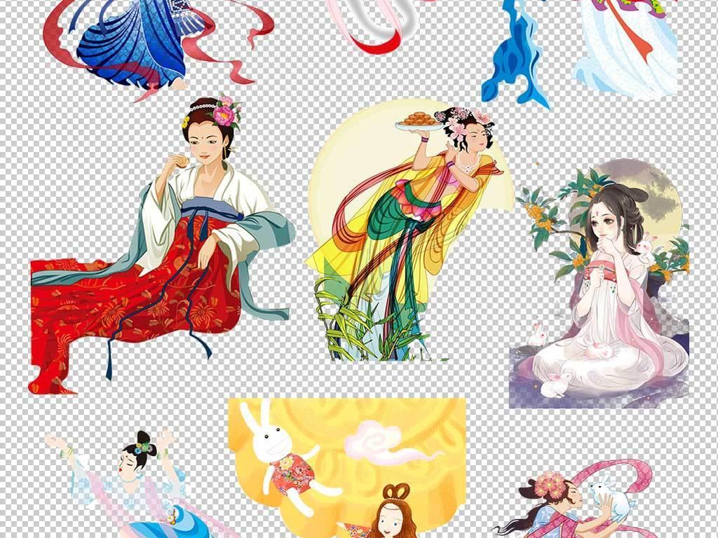 设计元素 人物形象 动漫人物 > 传统中国中秋嫦娥奔月玉兔素材合辑