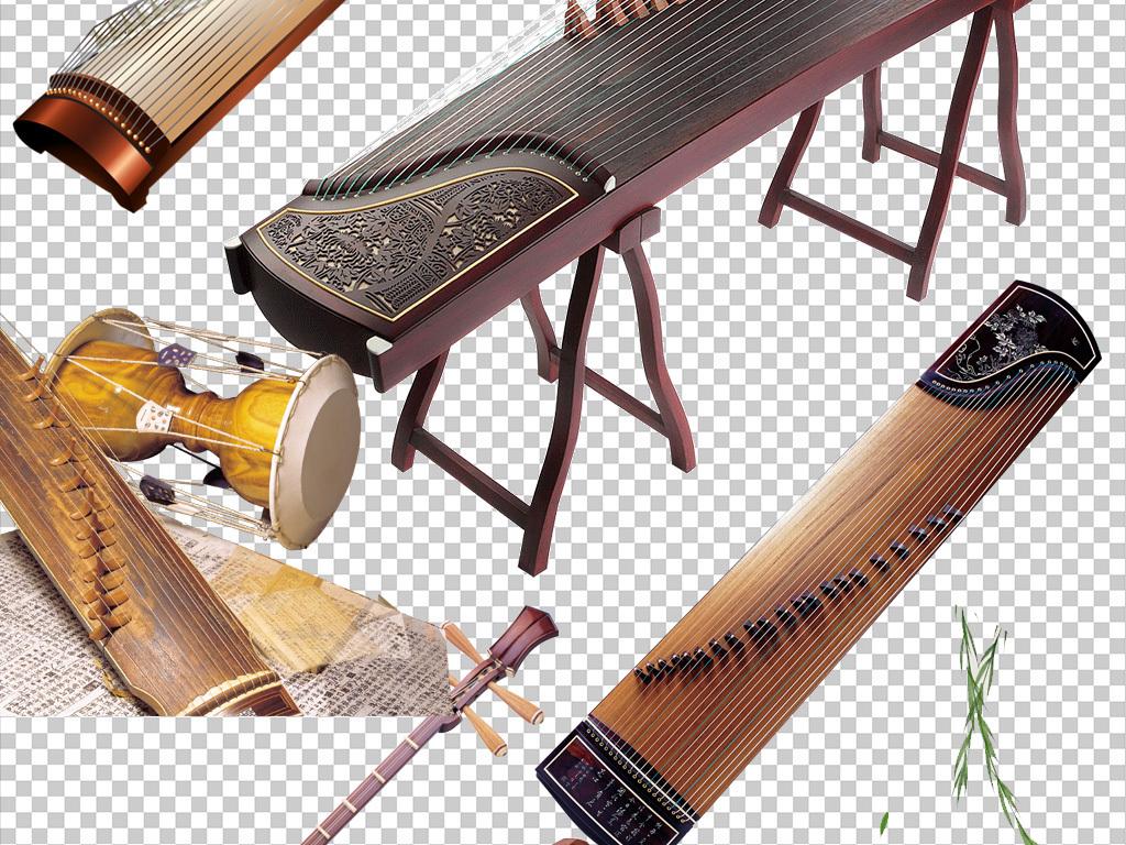 复古古典元素素材古筝古琴中国艺术png图片