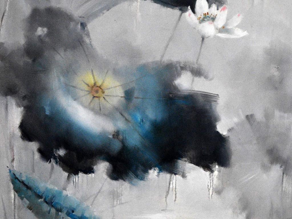 高清手绘抽象水墨荷花荷叶风景油画图