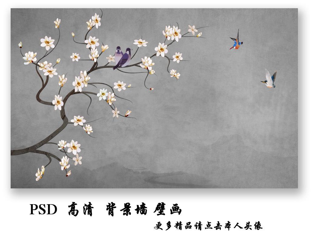 新中式手绘花鸟国画电视背景墙壁画