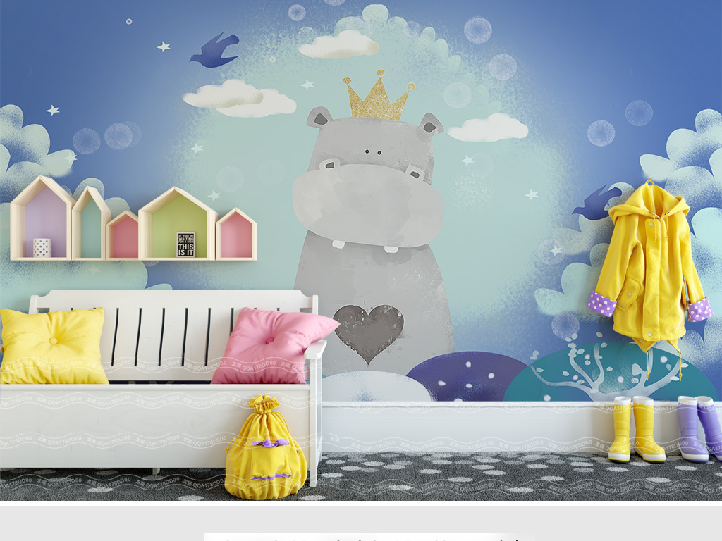 北欧简约手绘卡通河马儿童房背景墙图片设计素材_高清