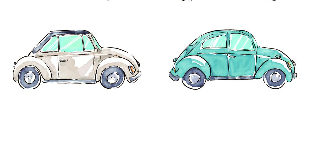 手绘卡通汽车图案