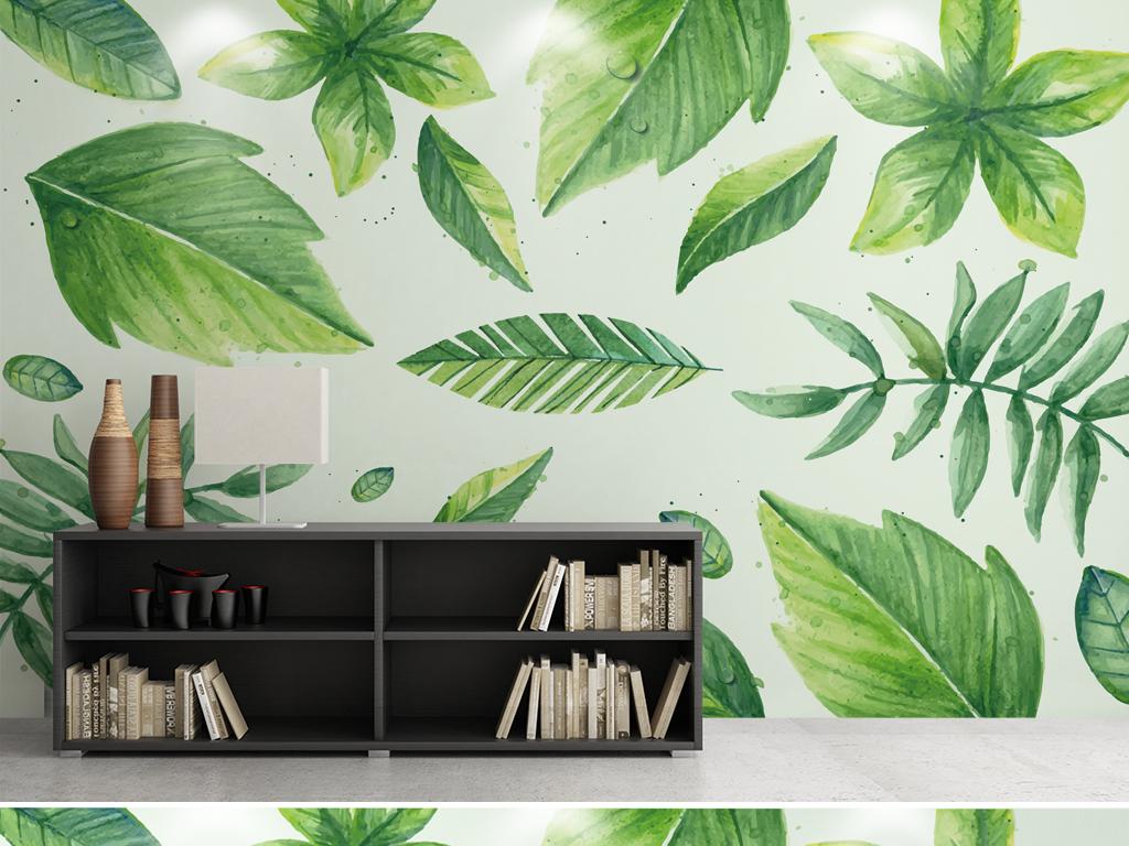 手绘热带植物叶子背景墙壁纸壁画