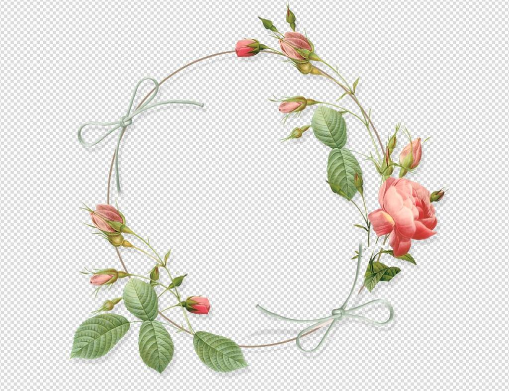 唯美免扣手绘花朵花环树叶背景墙素材png