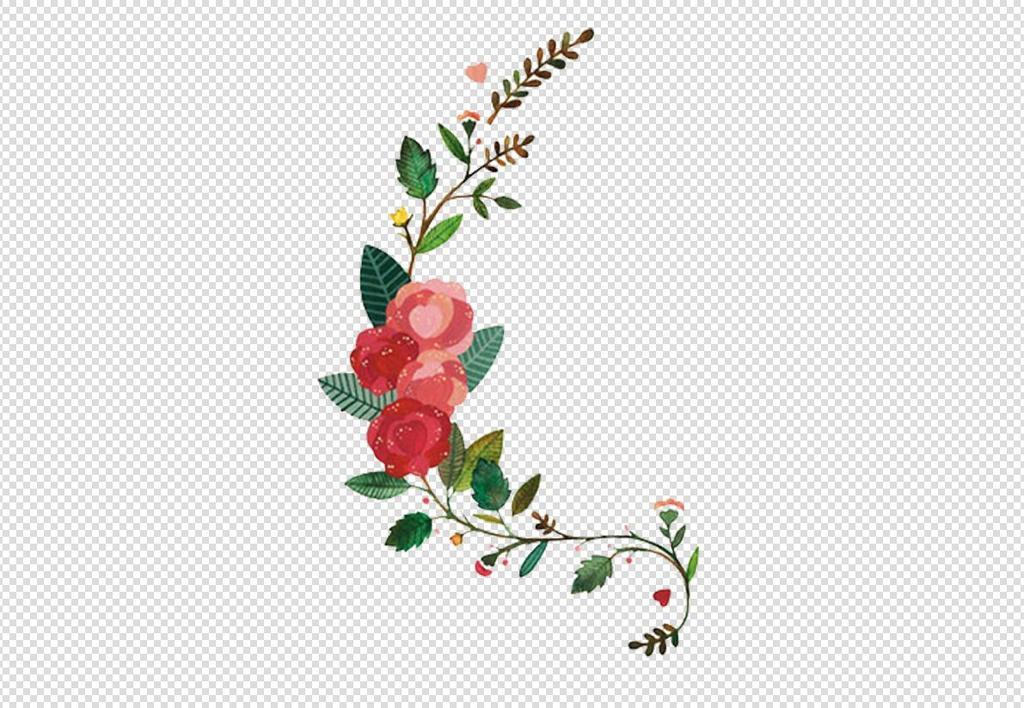 唯美免扣手绘花朵叶子树叶背景墙素材png