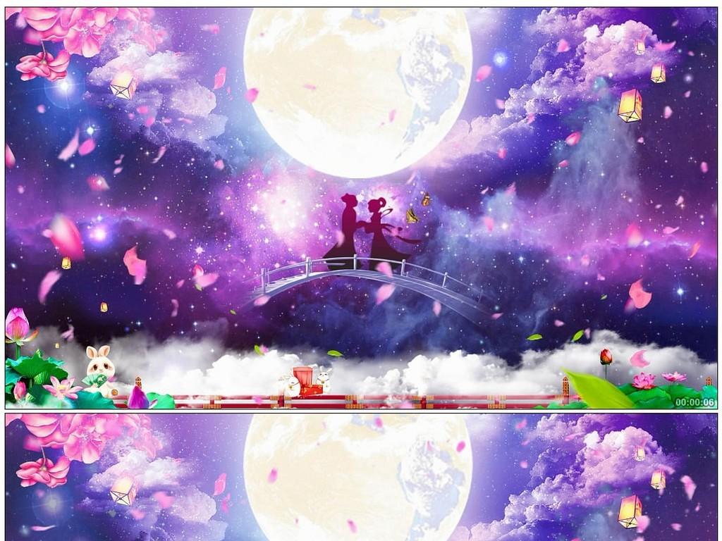 七夕鹊桥相会浪漫星空花瓣背景图片