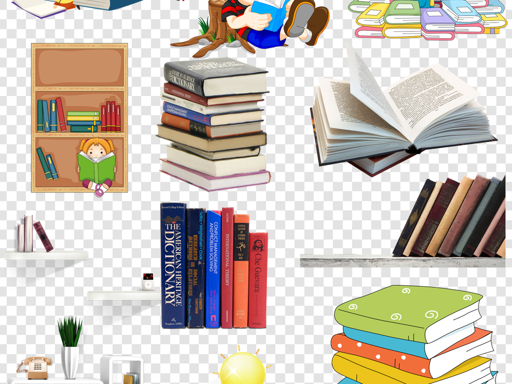 考试知识卡通书本学习用品开学海报素材素材书本课本课本素材书本课本