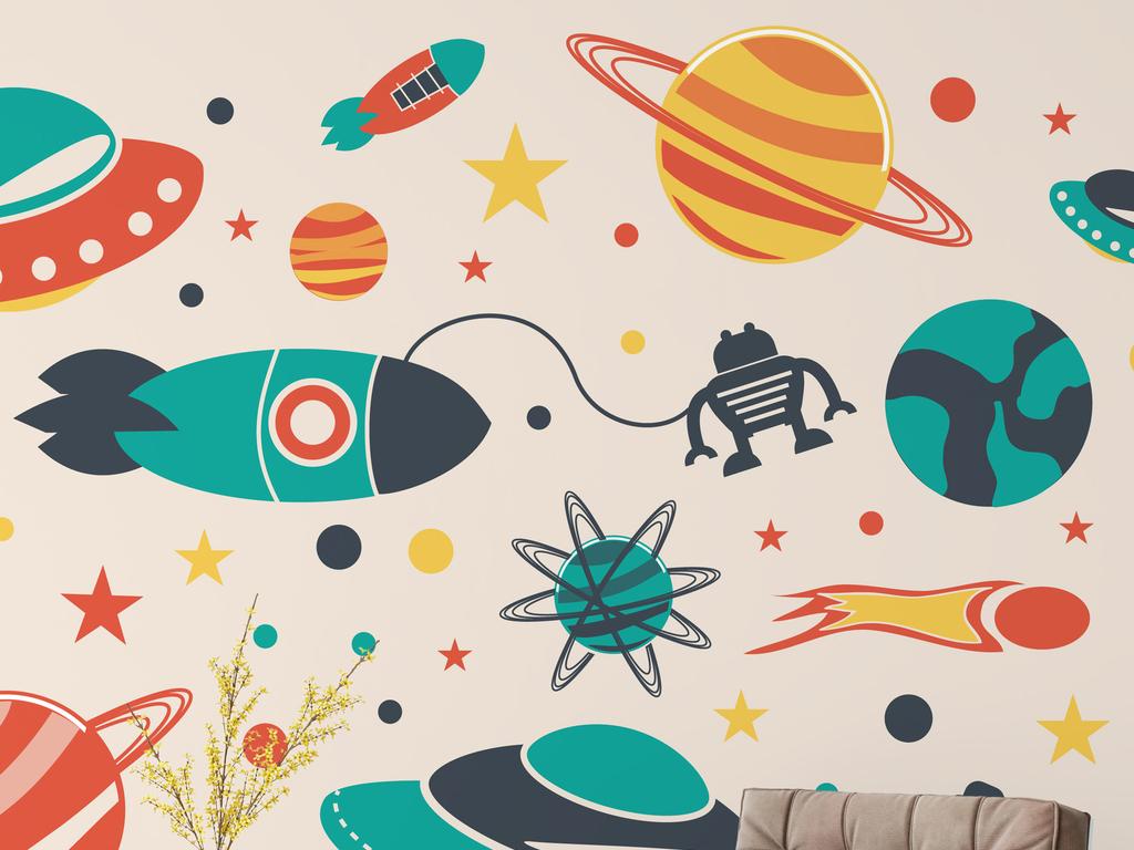 免抠元素 花纹边框 卡通手绘边框 > 手绘q萌宇宙行星图案儿童房背景墙
