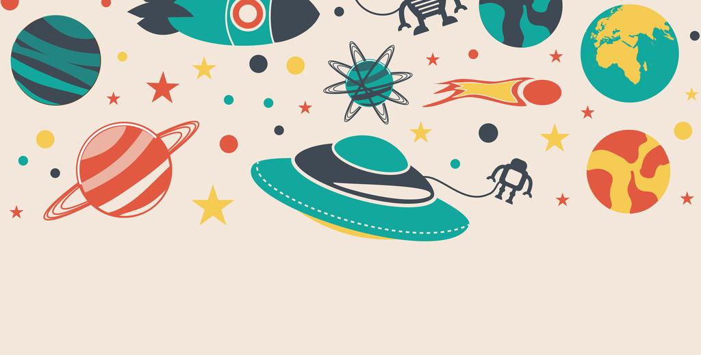 手绘q萌宇宙行星图案儿童房背景墙