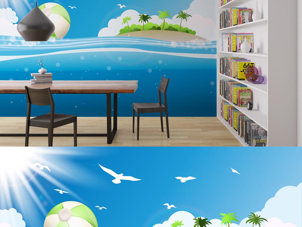 设计元素 背景素材 卡通边框 > 清新唯美海岛风光景色背景墙  版权
