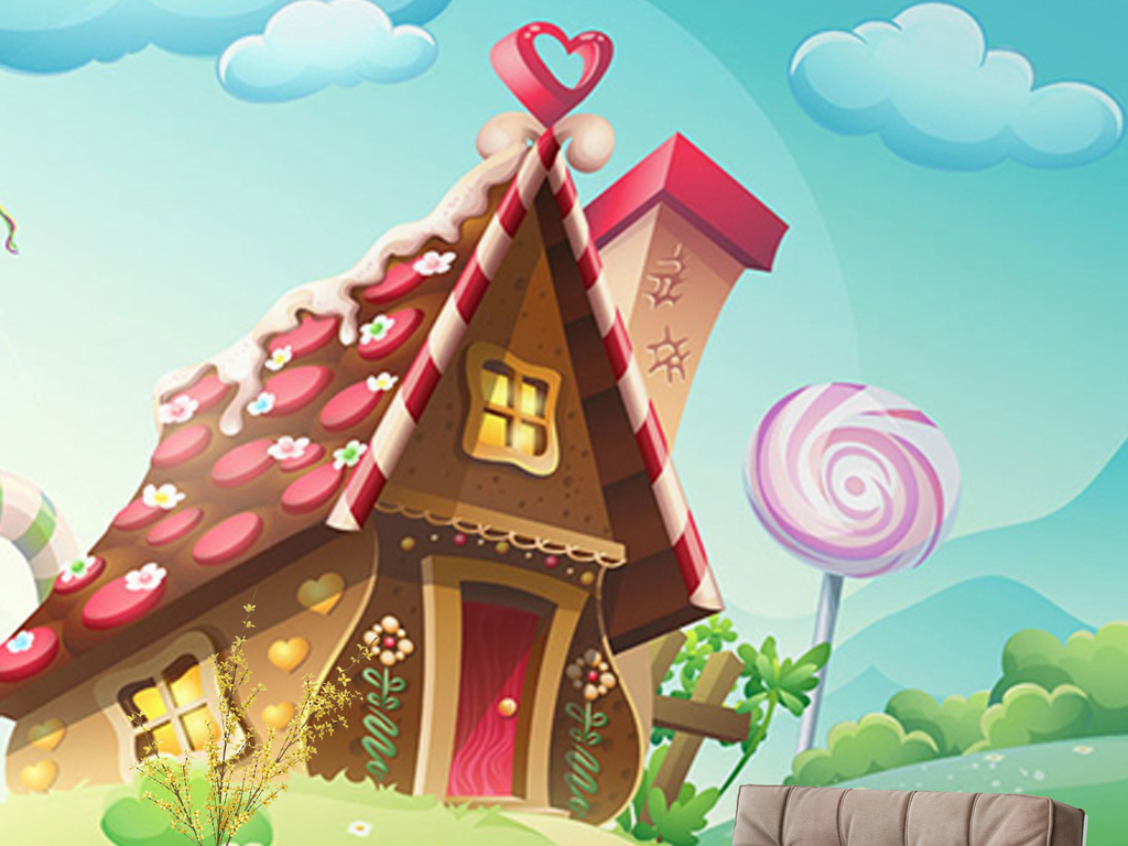免抠元素 花纹边框 卡通手绘边框 > 卡通清新糖果屋儿童房背景墙