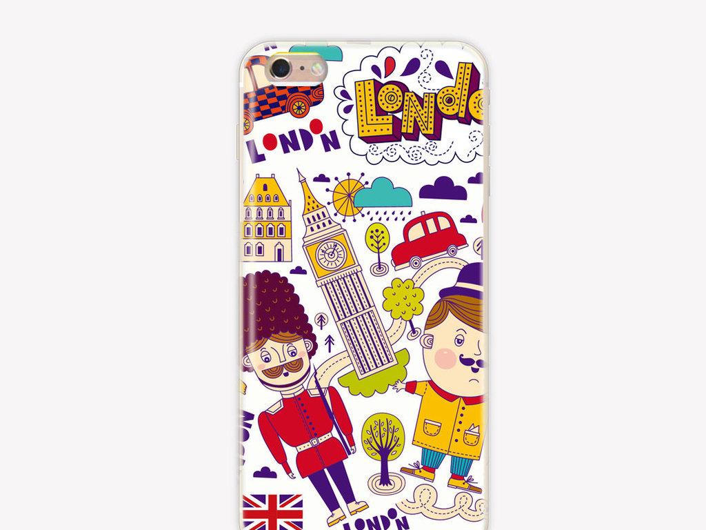 北欧风格涂鸦英伦卡通手机壳图案矢量高清