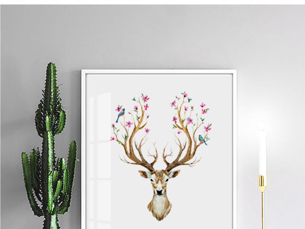 北欧简约手绘鹿头麋鹿花朵装饰画三联无框画