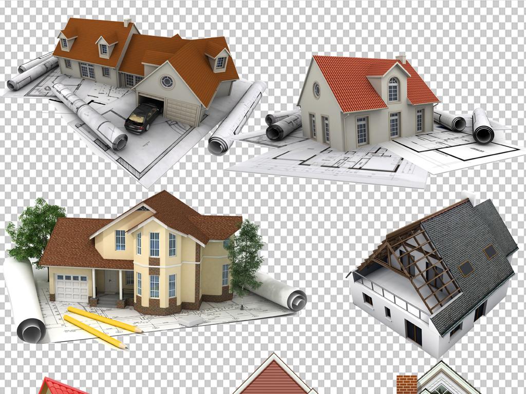 手绘矢量图免抠图素材设计别墅免抠素材别墅设计图纸别墅图纸设计图纸