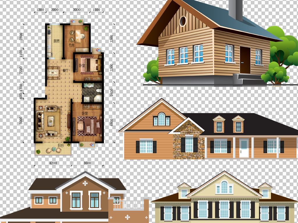 手绘矢量图免抠图素材设计别墅免抠素材别墅设计图纸别墅图纸别墅图