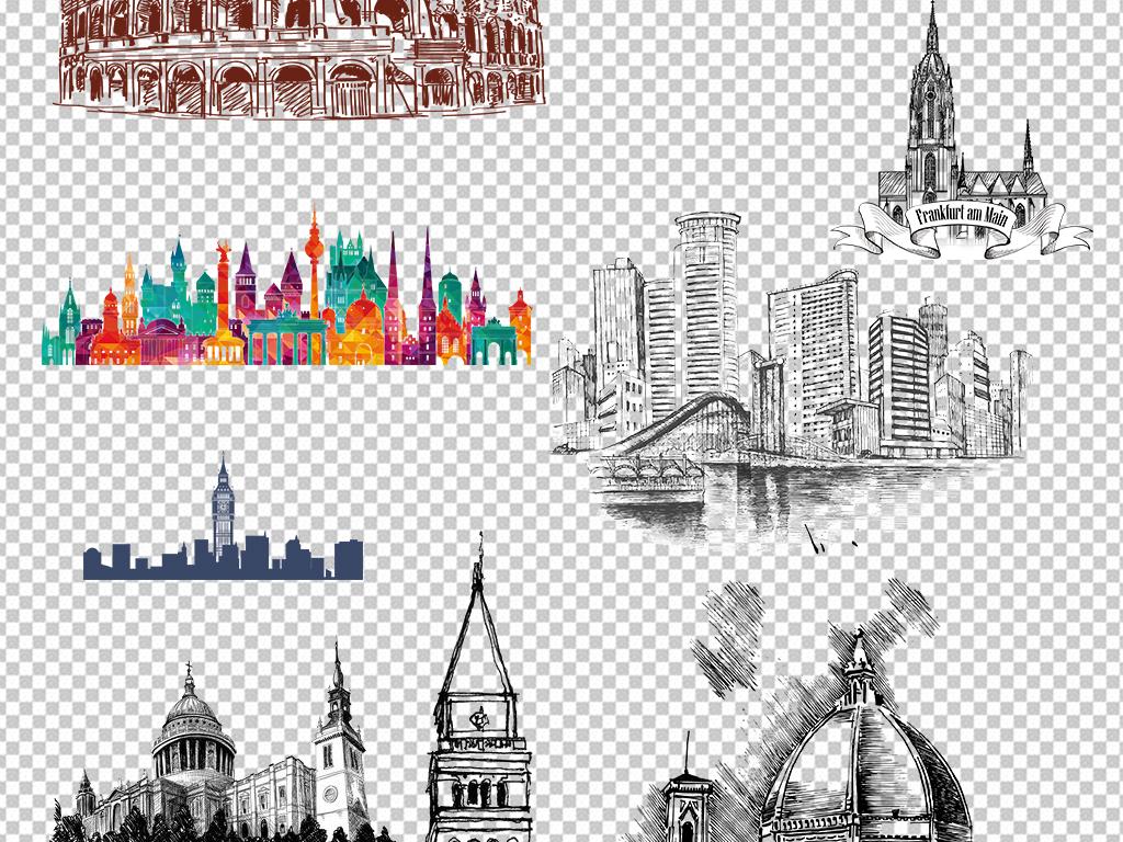 卡通建筑建筑设计手绘建筑欧美建筑大厦大楼上海楼宇写字楼城市素材