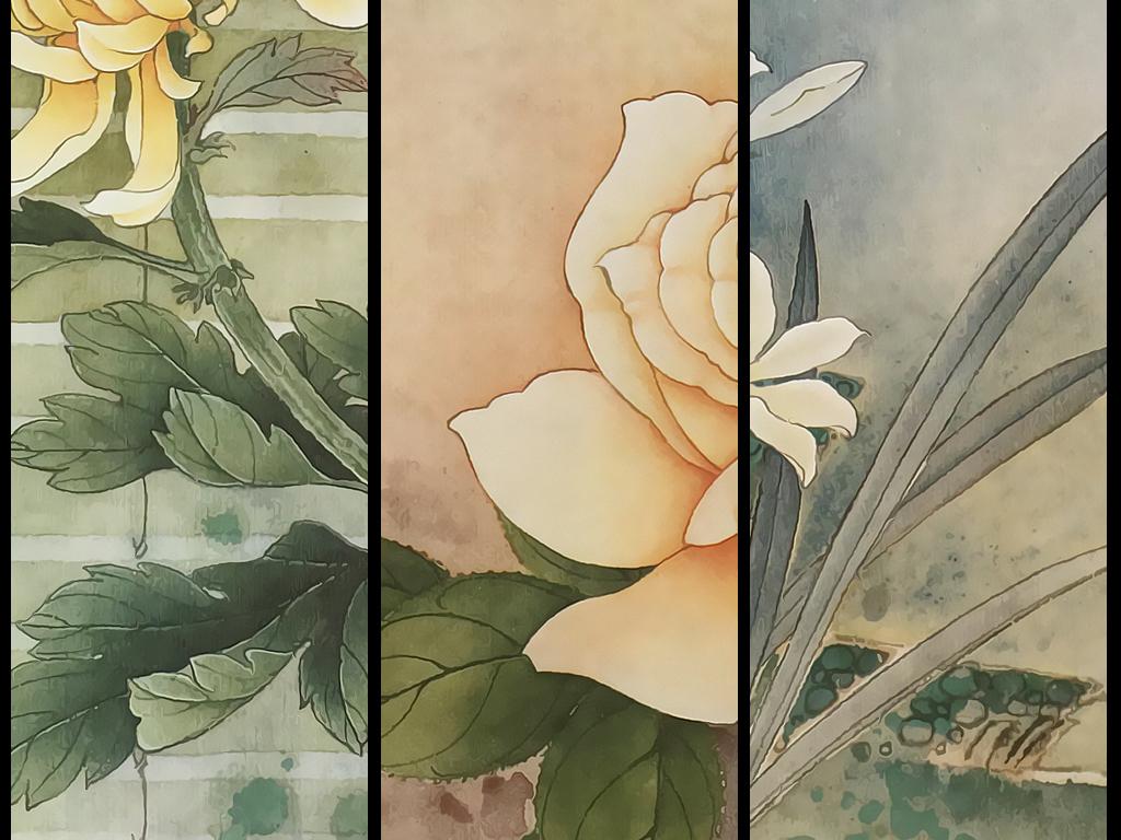 新中式水墨手绘花鸟玫瑰花三联圆框画装饰画图片