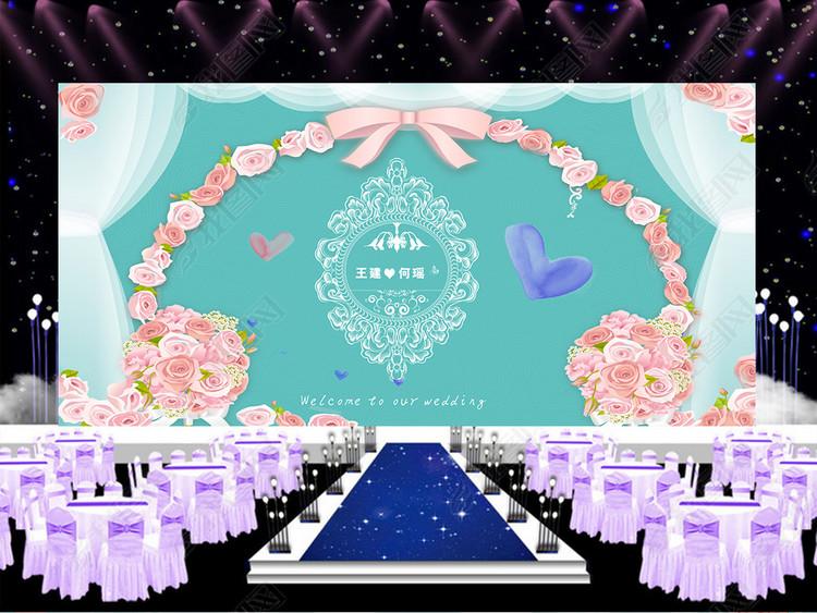 蒂芙尼蓝色主题婚礼欧式婚礼舞美设计