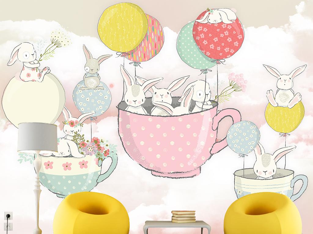 卡通小兔子手繪氣球茶杯兒童房壁畫背景墻