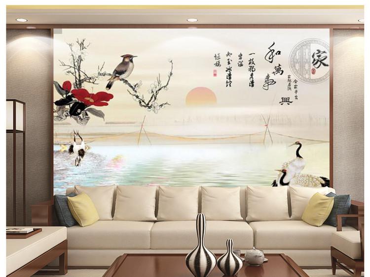 家和万事兴仙鹤花鸟电视背景墙