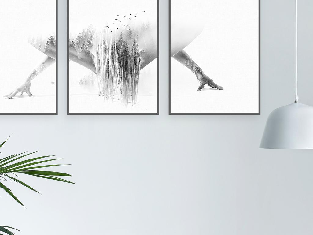 北欧现代简约创意人物森林装饰画