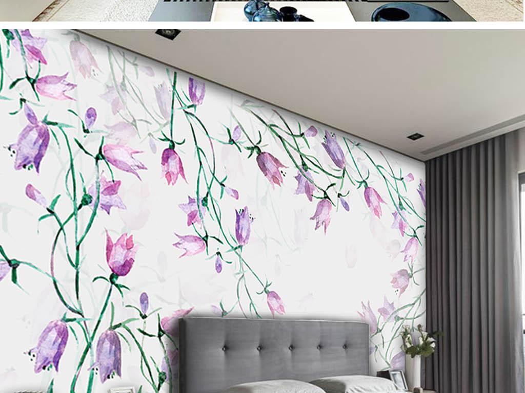 森系小清新手绘植物花卉装饰背景墙