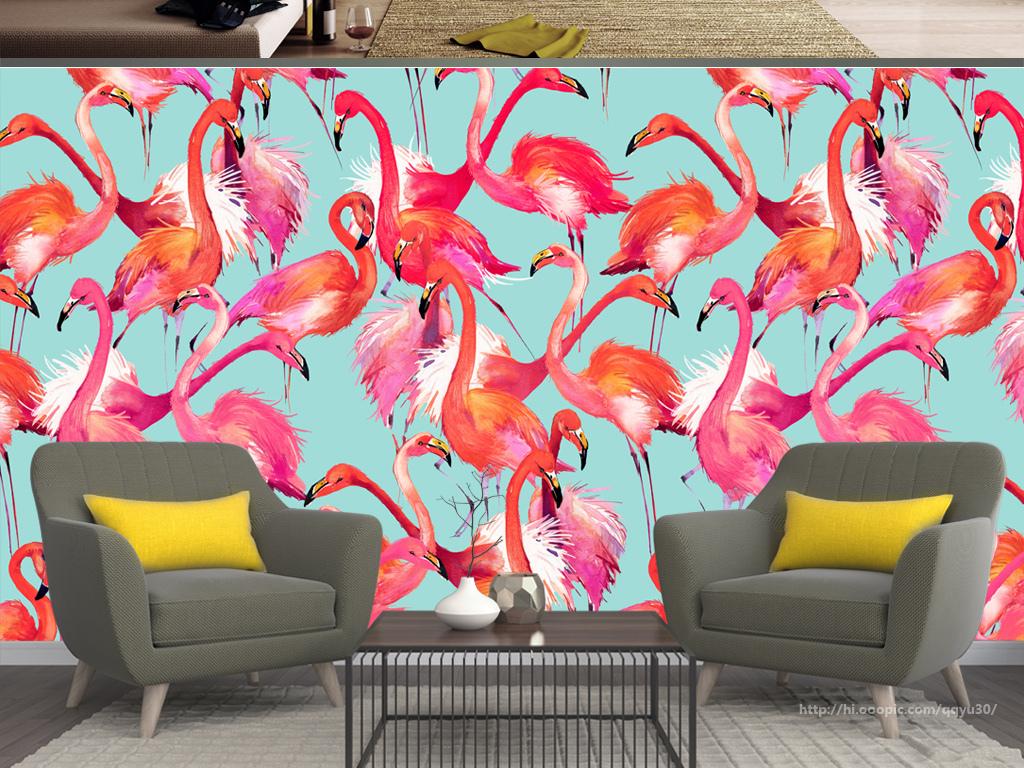 北欧火烈鸟手绘背景墙