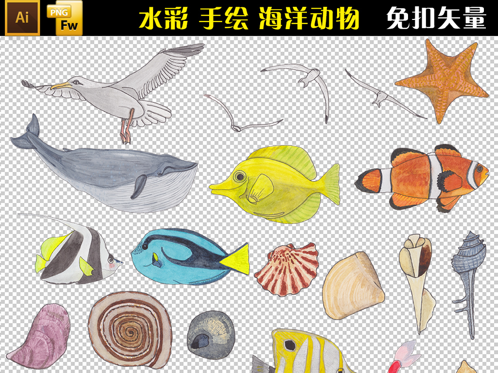 海星海螺水彩手绘海洋卡通可爱幼儿园儿童海洋生物海洋动物海底世界