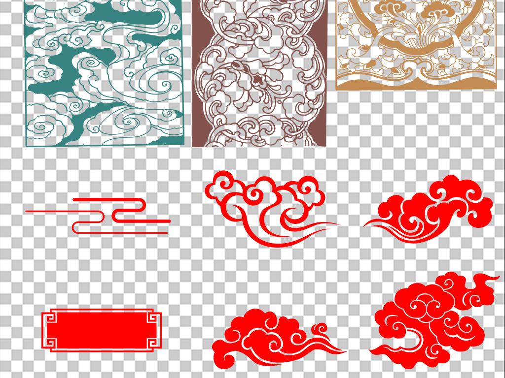 金色古典花纹复古边框素材psd矢量新中式模版中式窗花元素图案背景墙图片