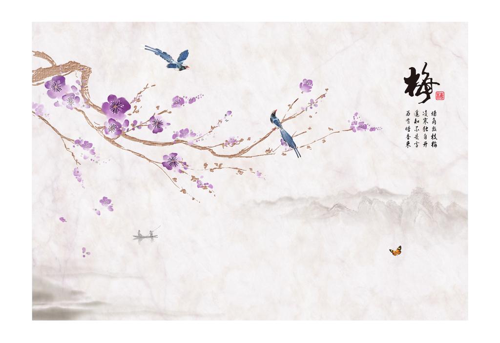 新中式梅花水墨山水拼花大理石花鸟背景墙图片