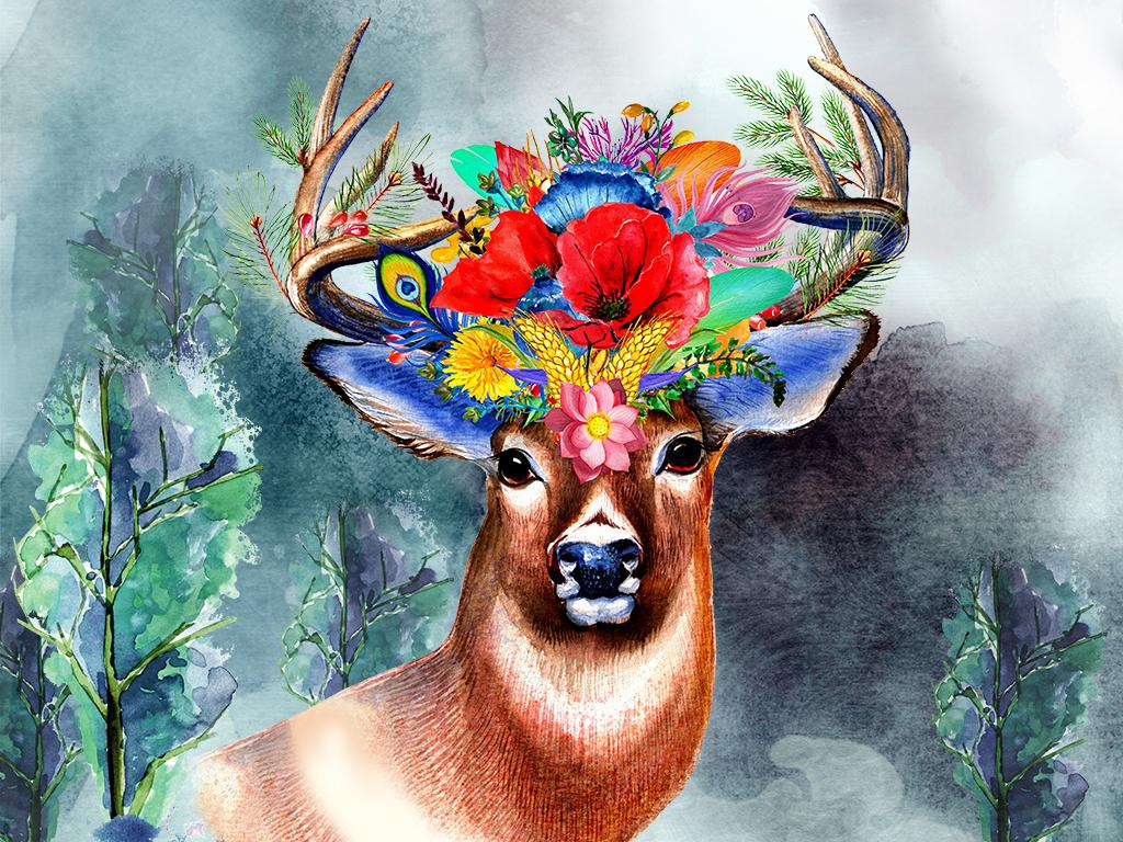 设计作品简介: 森林麋鹿梦幻手绘风格玄关背景墙 位图, cmyk格式高清
